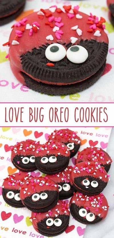 Valentines Day Treats: Love Bug Oreo Cookies