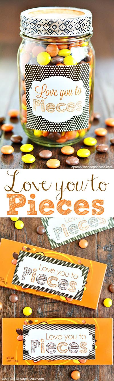 Valentines Day Mason Jar Gifts: Love You To Pieces in a Jar