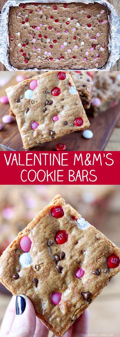 Easy Valentines Day Cookies: M&Ms Valentine's Day Cookie Bars