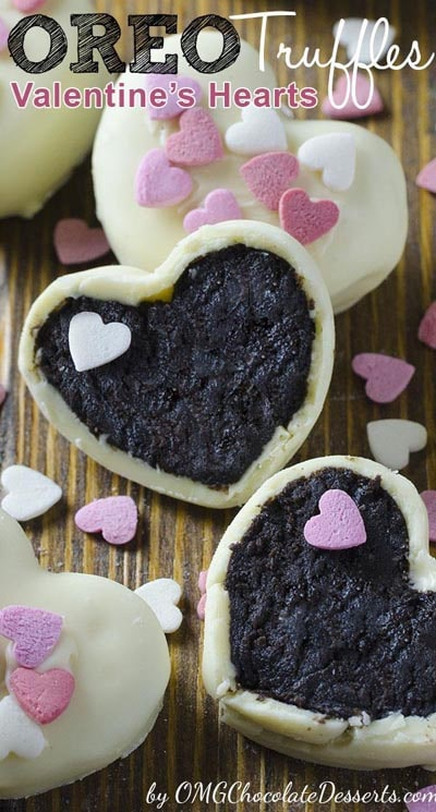 Easy Valentines Day Cookies: Oreo Truffles Valentine's Hearts
