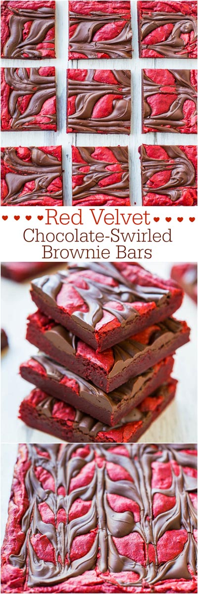 Valentines Day Treats: Red Velvet Chocolate-Swirled Brownie Bars