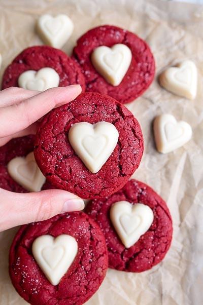 Valentines Day Treats: Red Velvet Sugar Cookies
