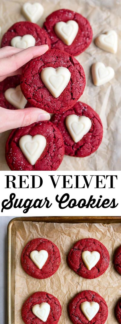 Easy Valentines Day Cookies: Red Velvet Sugar Cookies