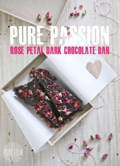 Valentines Day Treats: Rose Petal Dark Chocolate Bar