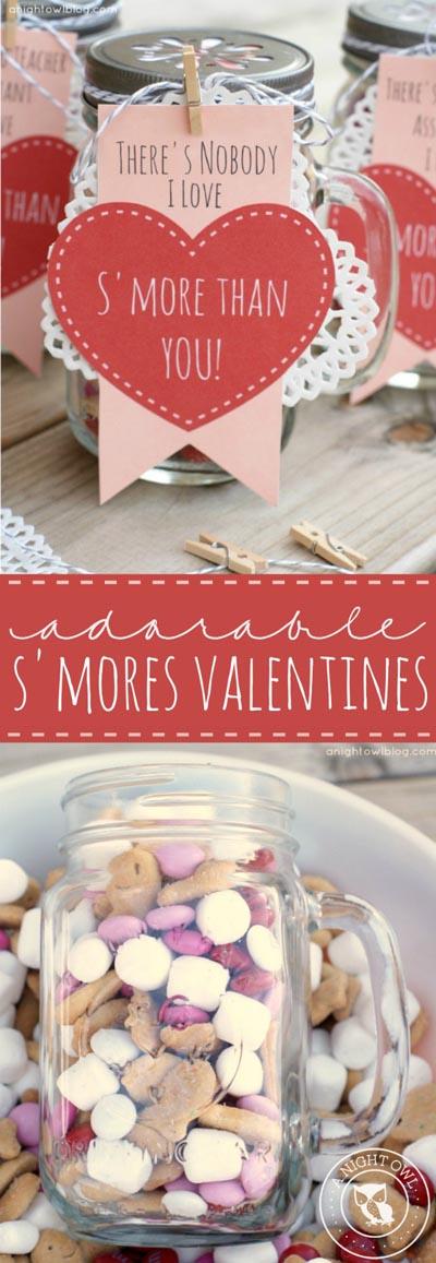 Valentines Day Mason Jar Gifts: S'mores Valentines Mason Jar