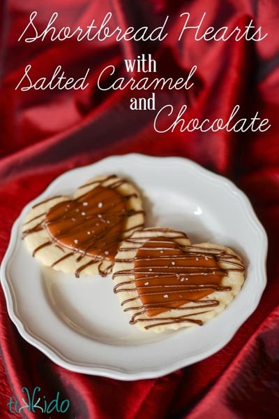 Easy Valentines Day Cookies: Shortbread Hearts With Salted Caramel And Chocolate