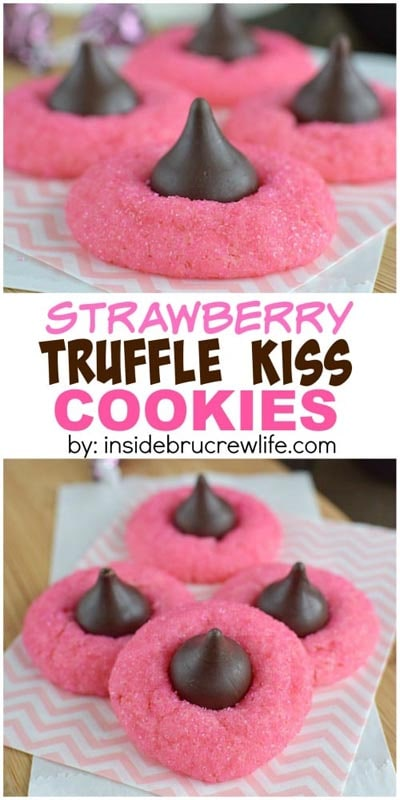 Easy Valentines Day Cookies: Strawberry Truffle Kiss Cookies