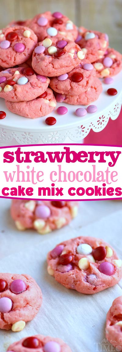Easy Valentines Day Cookies: Strawberry and White Chocolate Cake Mix Cookies