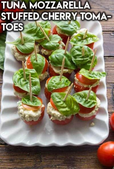 Healthy Super Bowl Snacks: Tuna Mozzarella Stuffed Cherry Tomatoes