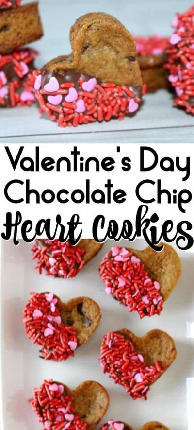 Valentines Day Treats: Valentines Chocolate Chip Cookie Hearts