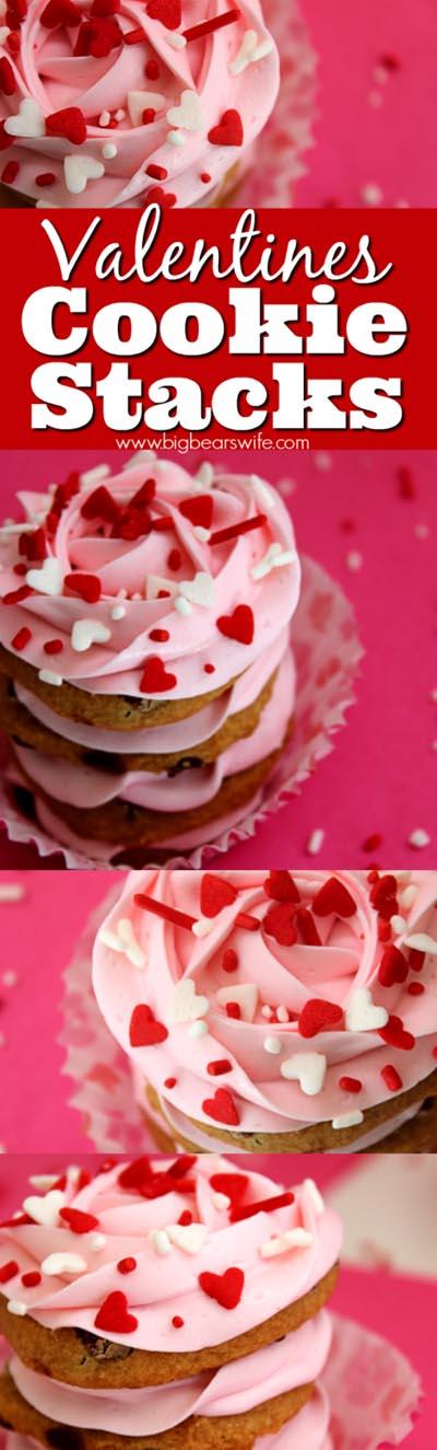 Easy Valentines Day Cookies: Valentines Cookie Stacks
