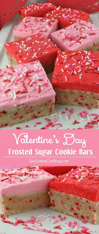 Easy Valentines Day Cookies: Valentines Day Frosted Sugar Cookie Bars