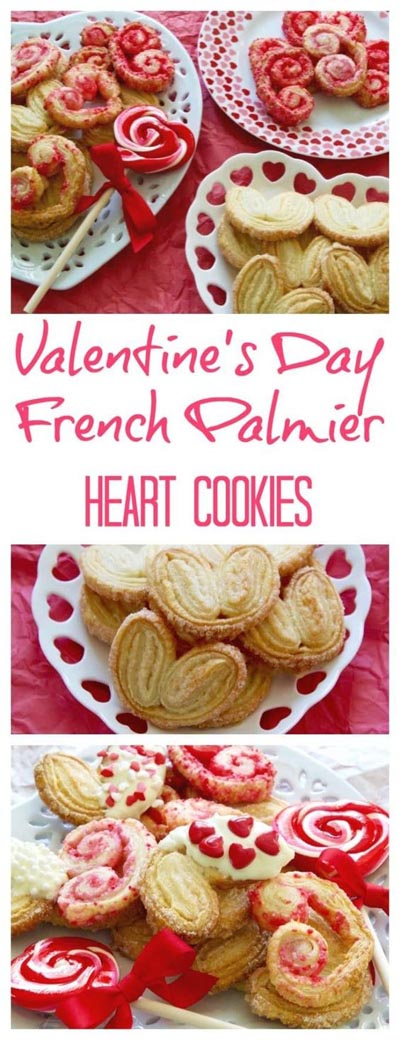 Easy Valentines Day Cookies: Valentines Day Heart French Palmier Cookies