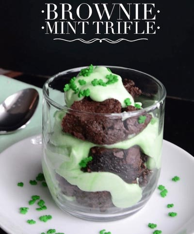 St Patrick's Day Desserts: Brownie Mint Trifle