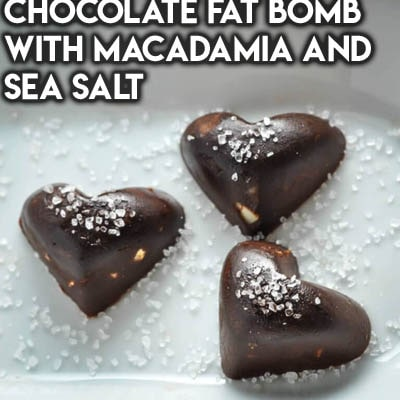 Keto Valentines Dessert Recipes & Treats: Chocolate Fat Bomb with Macadamia and Sea Salt