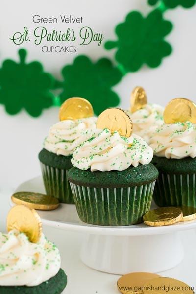 St Patrick's Day Desserts: Green Velvet Cupcakes