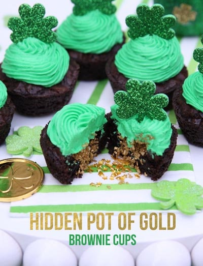 St Patrick's Day Desserts: Hidden Pot of Gold Brownie Cups