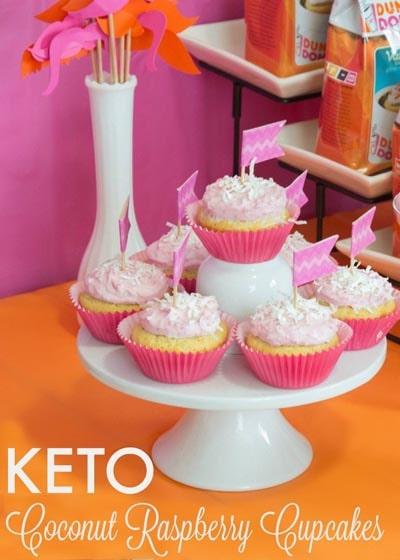 Keto Valentines Dessert Recipes & Treats: Keto Coconut Raspberry Cupcakes