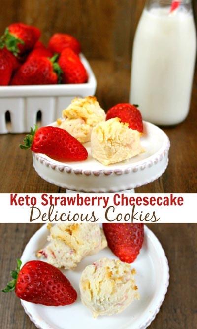 Keto Valentines Dessert Recipes & Treats: Keto Low Carb Strawberry Cheesecake Cookies