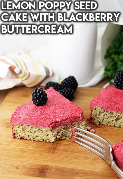 Keto Valentines Dessert Recipes & Treats: Lemon Poppy Seed Cake with Blackberry Buttercream