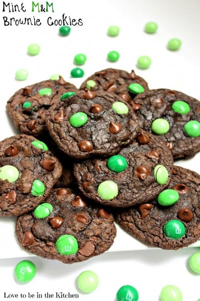 St Patrick's Day Desserts: Mint M&M Brownie Cookies