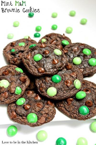St Patrick's Day Desserts: Mint M&M Brownie Cookies