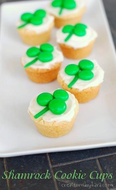 St Patrick's Day Desserts: Shamrock Cookie Cups