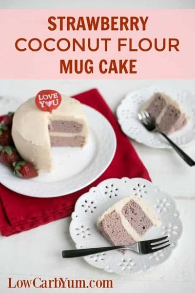 Keto Valentines Dessert Recipes & Treats: Strawberry Coconut Flour Mug Cake