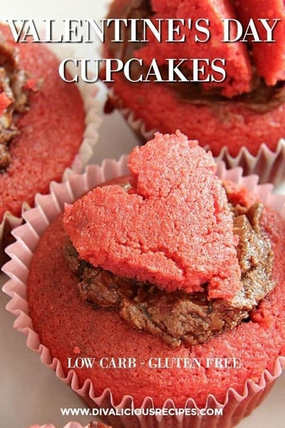 Keto Valentines Dessert Recipes & Treats: Valentines Day Almond Flour Cupcakes