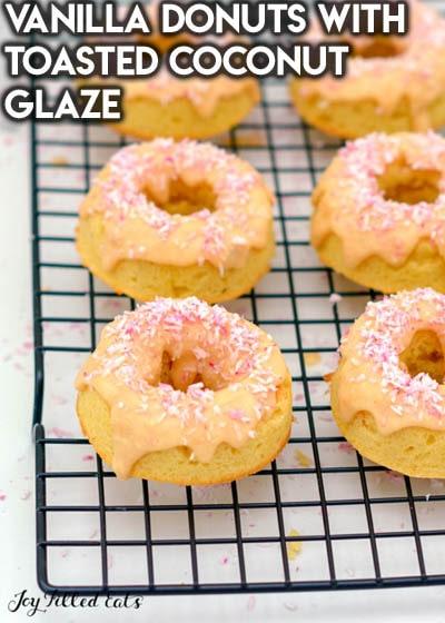 Keto Valentines Dessert Recipes & Treats: Vanilla Donuts With Toasted Coconut Glaze
