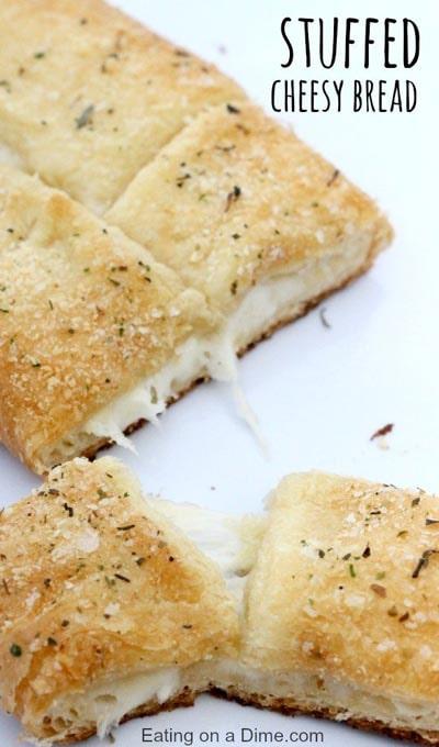 Homemade Baked Bread Recipes: 15 Minutes Stuffed Cheesy Bread