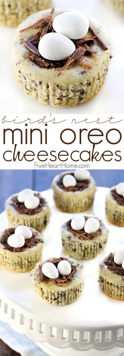Easter desserts and treats: Bird's Nest Mini Oreo Cheesecakes