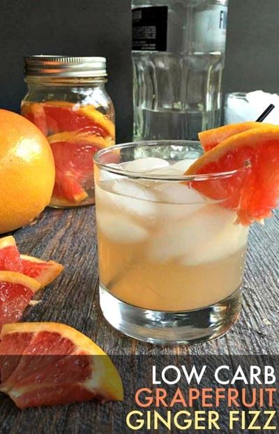 Keto Cocktails: Grapefruit Ginger Fizz