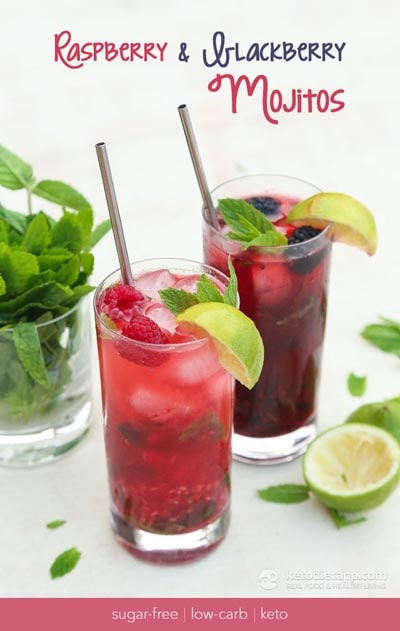 Keto Cocktails: Low-Carb Raspberry & Blackberry Mojito Cocktails