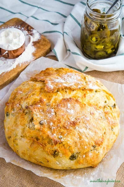 Homemade Baked Bread Recipes: No Knead Jalapeno Cheese Artisan Bread