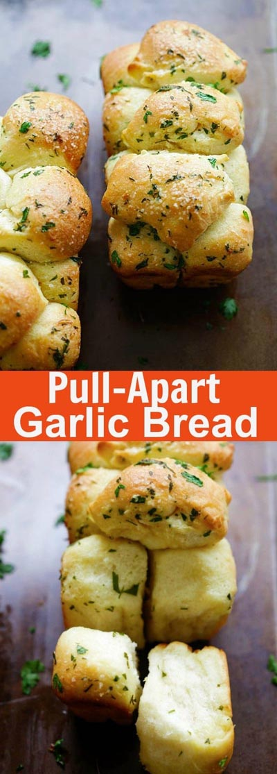 Homemade Baked Bread Recipes: Pull Apart Garlic Bread