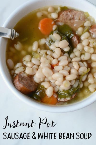 Instant pot soup recipes: Smoked Sausage, White Bean & Vegetables Soup