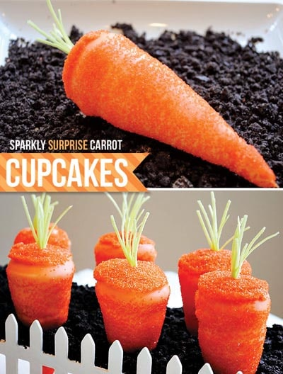 Easter Cupcake Ideas: Sparkling Surprise Carrot Cupcakes