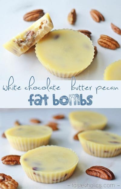 Keto Fat Bombs: White Chocolate Butter Pecan Fat Bombs
