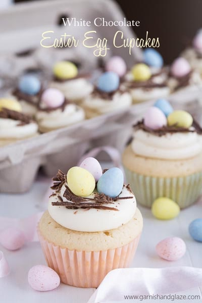Easter desserts and treats: White Chocolate Easter Egg Cupcakes