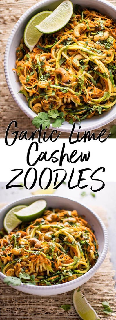 Spiralizer Recipes: 15 Minute Garlic Lime Cashew Zoodles