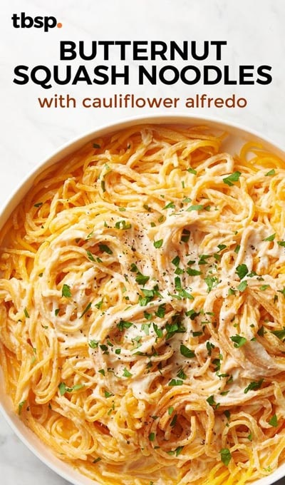 Spiralizer Recipes: Butternut Squash Noodles with Cauliflower Alfredo