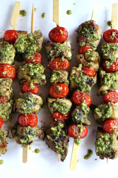 Tasty Keto BBQ Recipes: Easy Grilled Chicken Pesto Kebabs