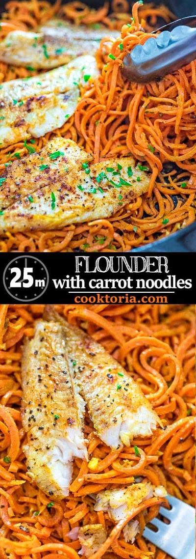 Spiralizer Recipes: Flounder With Carrot Noodles