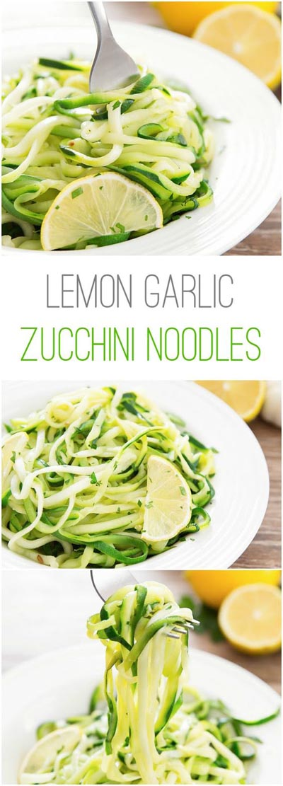 Spiralizer Recipes: Lemon Garlic Zucchini Noodles