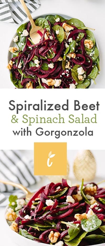Spiralizer Recipes: Spiralized Beet And Spinach Salad With Gorgonzola