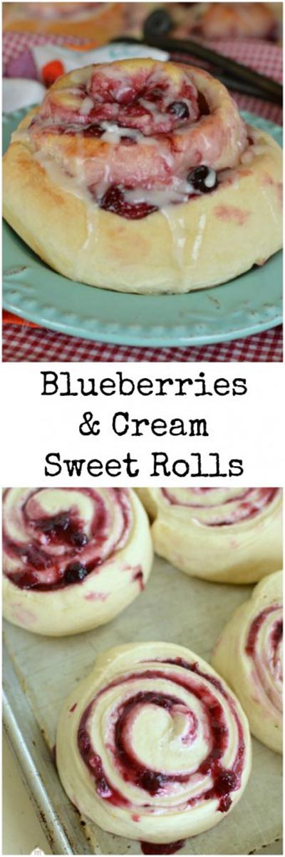Cinnamon Roll Dessert Recipes: Blueberries & Cream Sweet Rolls