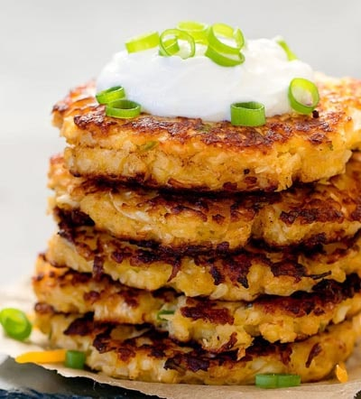 Vegetarian Keto Recipes: Cheesy Cauliflower Fritters