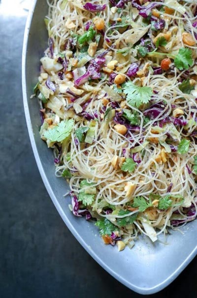 Vegetarian Keto Recipes: Keto Asian Noodle Salad with Peanut Sauce