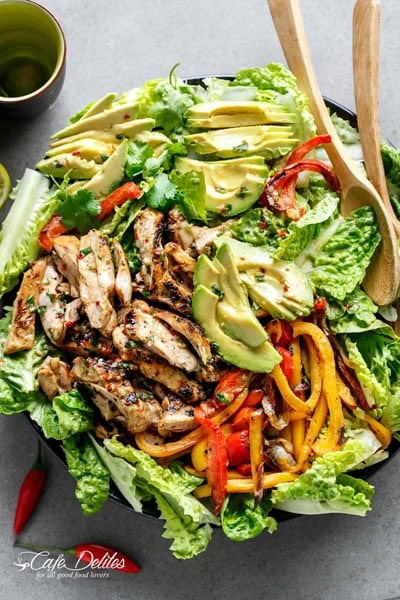 Filling Keto Salad Recipes: Grilled Chili Lime Chicken Fajita Salad